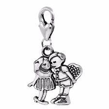 Boy Girl Childhood Sweethearts Couple Clip Dangle Charm for Traditional Bracelet