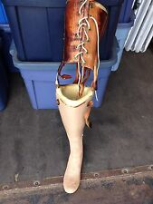 "Early 31 1/2"" Artifical Prosthetic Leg W/metal & Leather Thigh Brace"