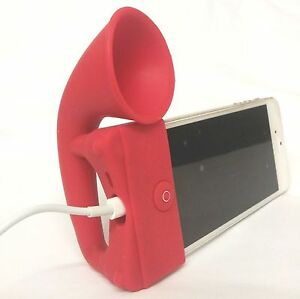 RED Portable Silicon Horn Amplifier Loud Speaker Desk Stand Apple iPhone 5 5S