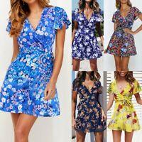 Women V Neck Summer Boho Floral Print Mini Dress Ladies Holiday Beach Sundress U