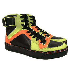 L-3515341 New Gucci Neon Hi-top Leather Sneakers Shoe Size  UK 9.5 US 10.5