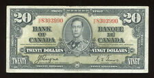 1937 $20 Bank of Canada Banknote - Cat#25c - S/N: H/E8303990 Transitional Prefix