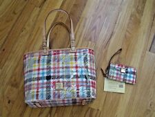 *SWEET*OMG**BNWT**DOONEY& BOURKE**PLAID**LEISURE SHOPPER TOTE BAG & WRISTLET**