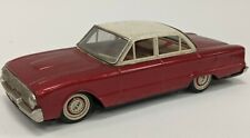 """Vintage Bandai Japan 1962 Ford Falcon Tin Friction Drive Toy Car 9"""" Red"""