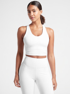 ATHLETA Ultimate Crop D-DD Tank Top XL in White | Bra Support Workout Shirt NWT