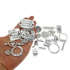 20pcs Mixed Retro Silver Alloy Engraved Design Pendant Charms for Jewelry Making