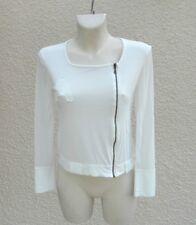 T-shirt Zippé Blanc Manches Longues Voilage Cote Anglaise Taille 38_40