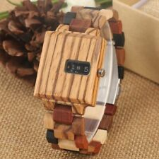 Men Watch Wooden Watches Turntable Design Quartz Watch Full Adjustable Wood Band
