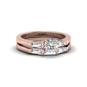 14K Rose Gold 1.00 Ct Round Cut Real Diamond Anniversary Band Set Size 5 6 7.5 8