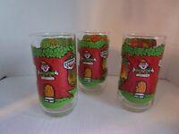 """PROMO 1984 Keebler Elf Soft Batch Cookie 5.5"""" Glass Tumbler Set of 3 Vintage NEW"""