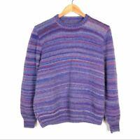 Vintage Handmade Sweater Size Large Purple Stripe Wool Long Sleeve Hand Knit