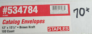 """70 Staples Gummed Catalog Envelopes - 12"""" x 15.5"""" -  Brown #534784"""