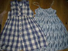 Vestidos de verano X2 Topshop Talla 10/12 Rayas Azul Y Blanca comprobado &