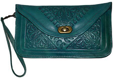 Purse Leather Pouch Moroccan Women Clutch Makeup Pouch Wristlet Wallet Turquoise