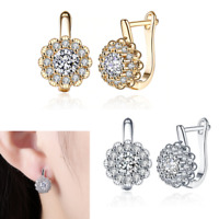 Blossoing Flower Latchback Earring Made with Swarovski CZ Crystals in 18K Gold