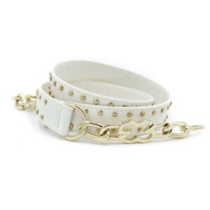 New ESCADA $275 White/Gold Studded Leather Signature EE Chain Belt size 40/10 US