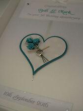 Personalised 5th Wedding Anniversary Card, Swarovski crystals, boxed