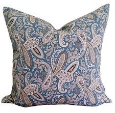 Ballard Blue Beige Paisley Vintage Designer Cushion Pillow Cover Cotton