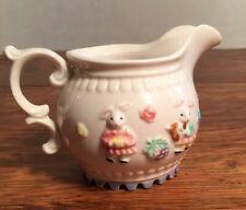 Vintage Pottery Juvenile Small Milk Pitcher Creamer Baby Bunny Rabbits