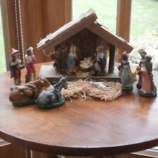 VINTAGE NATIVITY SET W/ PLASTER FIGURES & WOODEN STABLE MADE IN ITALY