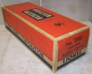 Lionel Postwar 3360 Burro Crane Original #3360-89 2-City BOX & INSERT ONLY ~ VG+