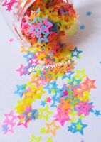 NEON GLITTER STAR SHAPE NAIL ART FESTIVAL SUMMER FACE HAIR BODY MIX Hollow neon