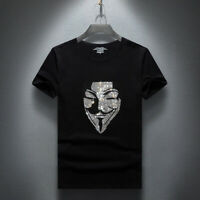 Men's Luxury Embossed V for Vendetta Designer T-Shirt Slim Fit Fashion Tee S-3XL