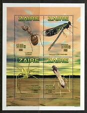 Zaire Congo 1996 Minerals, Insects Sheet of 4 - Scott 1449, NH **