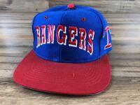 Vintage Texas Rangers Blue Red Large Spellout Baseball Snapback Cap Hat Genuine