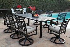 Aluminum Outdoor Garden Furniture 9 Piece Dining Set A with 8 Swivel Rockers CBM