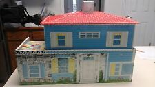 VINTAGE  50'S TIN METAL 2 STORY  DOLL HOUSE