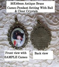 30X40mm Oval Cameo Pendant Setting Lacey Ant Brass w/Crystals & Bail Zinc Alloy