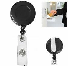 Retractable ID Card Holder Reel Badge Key Tag Clip Black