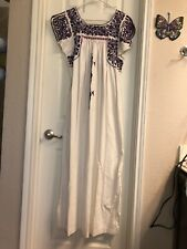 Vintage Oaxacan Mexican Dress White/Purple L/Xl