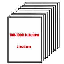 100-1000 Etiketten DIN A4 Bogen Selbstklebend 210 x 297 mm Papier weiß Aufkleber