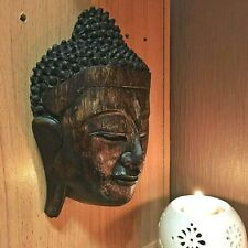 VINTAGE LARGE WOOD CARVED BUDDHA FACE MASK WALL SCULPTURE HOME DECOR ANCIENT NEW