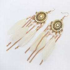 Rhinestone Fashion Jewelry Vintage Feather Pendant Drop Earring Earrings