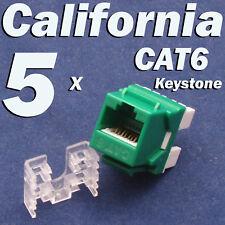 5 Pcs Lot CAT6 Keystone 8P8C RJ45 Network 110 Style Socket Punch Down Jack Green