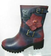 SOCOFY blue & red Flower Buckle Ankle Leather Boots UK 5 EU 38