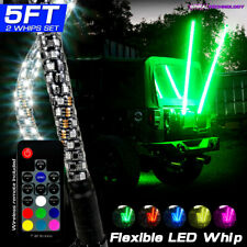 Two Dual 5FT LED RGB Color Whip Lights with Remote Control For ATV UTV RZR 4WD