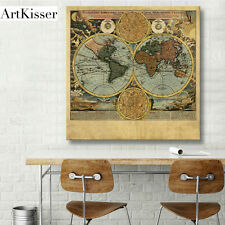 """Hot History Vintage World Maps Canvas Painting Art Print Wall Home Decor 16x16"""""""