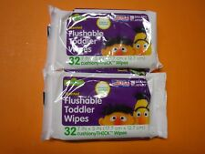 New 2 X 32 Ct Sesame Street Scented Flushable Toddler Wipe Cushiony Thick Wipe