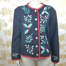Ellen Richman Medium Cardigan Wool Sweater Jacket Holly Embroidery Christmas