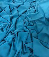 "1 METER BLUE CREPE GEORGETTE CHIFFON DRESS BLOUSES BRIDAL FABRIC 58"" WIDE"