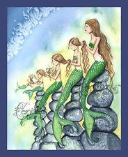 Five MERMAIDS family daughter Print from Original Painting By Camille Grimshaw