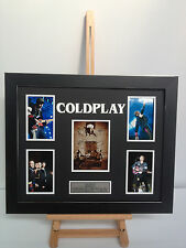 UNIQUE PROFESSIONALLY FRAMED, SIGNED COLDPLAY PHOTO COLLAGE WITH PLAQUE.