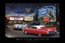SKY VIEW DRIVE IN ART PRINT BY HELEN FLINT theater film cars movies 36x24 poster