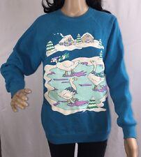 True Vintage 1989 Ugly Christmas Sweater Medium Ice Skating Geese Sweatshirt