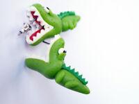 Krokodil Ohrstecker Paar lustige Alligatoren Schnappi Fimo Ohrschmuck Ohrringe