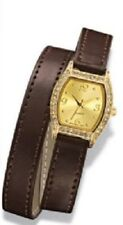 Avon New Neutrals Classic Brown Strap Wrap Watch Goldtone Crystal Bezel New Box